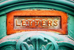 Old mail slot royalty free stock images