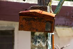 Old Mailbox The color began to peel off. royalty free stock images