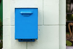 Old mailbox. Old, painted in blue mailbox in retro style Stock Photo