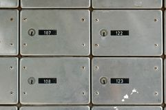 Old mailboxes. With locks and numbers Stock Images