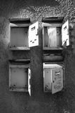 Old mailboxes B/W Royalty Free Stock Photos