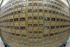 Old Mailboxes - Fisheye view Royalty Free Stock Photos