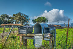 Old mailboxes in California stock photos