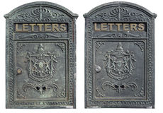 Old mailboxes with clipping paths, isolated on white. Stock Image