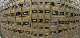 Old Mailboxes - Fisheye view Stock Image