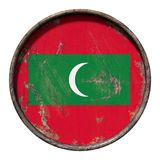 Old Maldives flag. 3d rendering of a Maldives flag over a rusty metallic plate. Isolated on white background Stock Photography