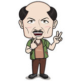 ฺBald Headed Man Character - Smiling with 2-finger hand sign Royalty Free Stock Image