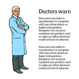 Old male doctor standing arms crossed Stock Photography