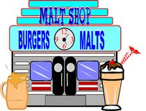 Old malt shop. Malt shop on white from fifties era with floats and milkshake in forfront Stock Images