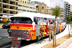 Old Maltese Bus. An old Maltese bus now used as a shop on the seafront at Sliema, Malta Stock Photos