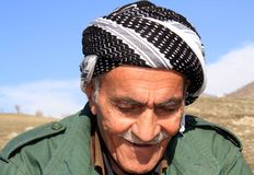An old man. Is going out when he's climbing the mountains to have a picnic in a village near qaladiza town stock photos