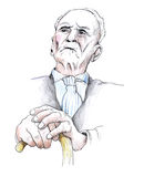 Old man. With walking stick Stock Photography