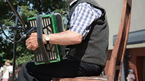 Old man accordion stock video footage