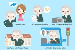 Old man with alzheimer. Disease on the blue background vector illustration
