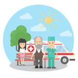 Old man with ambulance. Royalty Free Stock Photos