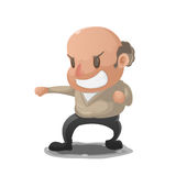 Old Man Anger Fight Pose. Vector Royalty Free Stock Photo