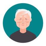 Old man avatar icon in flat style. Male user icon. Cartoon man avatar. Stock Photos