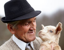 Old man with baby goat Royalty Free Stock Photos