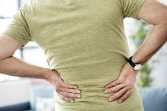 Old man with back pain. Old man with back  pain Royalty Free Stock Photo