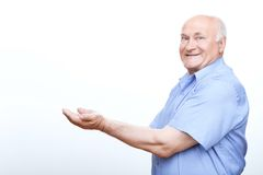 Old man bagging for something needed Royalty Free Stock Photo