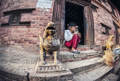 Old man in Bhaktapur Stock Photo