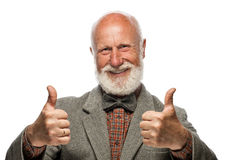 Old man with a big beard and a smile. On white background royalty free stock photography