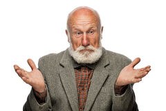 Old man with a big beard and a smile. On white background royalty free stock photo