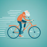 Old man on a bike. Grandfather is riding bicycle. Isolated cartoon illustration Stock Photo