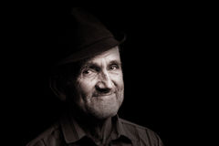 Old man with black hat Stock Photo