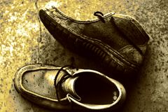 Old man boots Royalty Free Stock Photo