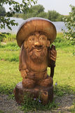 Old man Borovichok. Wooden sculptures based on Pushkin's fairy tales. Royalty Free Stock Photo