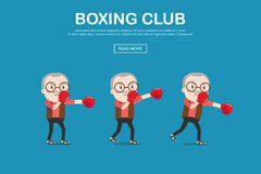 Old man with boxing gloves. Vector illustration of old man with boxing gloves Royalty Free Stock Images