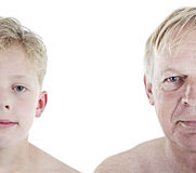 Old man and boy comparison royalty free stock photography