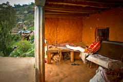 An old man with a broken leg of Chhaimale village, 29km south of Kathmandu, Nepal. Stock Image