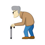 Old man in cartoon style with shadow Royalty Free Stock Photography