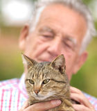 Old man with cat. Tubby cat in old man hands, enjoying cuddling Stock Photography