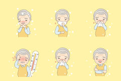 Old man catch cold. Cute cartoon old man catch a cold Royalty Free Stock Images