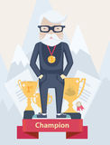 Old man champion in sport Stock Images