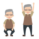 Old man character exercise Royalty Free Stock Images