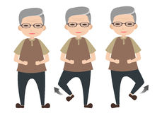 Old man character exercise Stock Photo