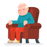 Old Man Character Sit Sleep Armchair Adult Icon Cartoon Design Vector Illustration Royalty Free Stock Images