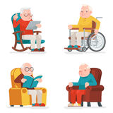 Old Man Characters Sit Sleep Web Surfing Read Armchair Wheelchair Adult Icons Set Cartoon Design Vector Illustration Stock Photos