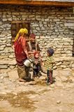 Old man and children in Nepal Stock Photo