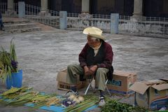 The old man. The city of Cholula Puebla, the principal prehispanic city of the aztec empire, nowadays shows the monastery of St. Francisco, the place where Stock Images