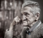 Old man closeup. Closeup portrait of an expressive old man in his 80s stock images
