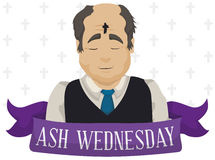 Old Man with Cross in his Forehead on Ash Wednesday, Vector Illustration. Poster with elegant old man commemorating the first event of Lent tradition: Ash Royalty Free Stock Photo
