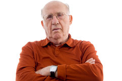 Old man with crossed arms Stock Photo