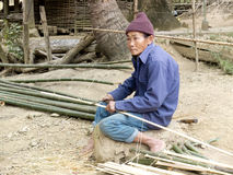 Old man cutting bamboo. Stock Images