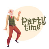 Old man dancing, cartoon invitation, banner, poster, greeting card design Stock Image