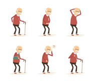 Old Man Diseases. Set of old man diseases. Senior sick. Vector illustration flat design Royalty Free Stock Images